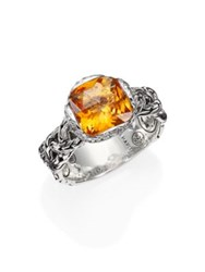 John Hardy Classic Chain Citrine Diamond And Sterling Silver Batu Ring Silver Yellow