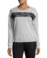 Marc New York Lace Inset Sweatshirt Lt Grey He