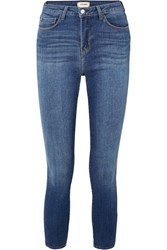 L'agence The Margot Cropped High Rise Skinny Jeans Mid Denim