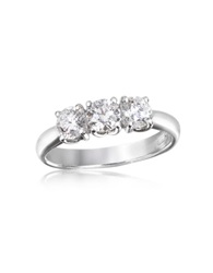 Forzieri 0.92 Ctw Diamond Three Stone 18K Gold Ring White Gold