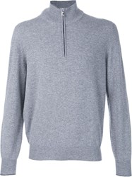 Brunello Cucinelli Half Zip Sweater Grey