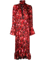 Mother Of Pearl Poppy Print Midi Dress Red