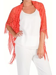 Chesca Floral Lace Shawl Coral