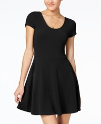 Planet Gold Juniors' Cap Sleeve Textured Fit And Flare Dress Black Beauty
