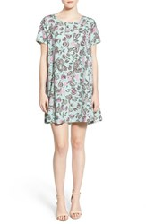 Women's Lush Short Sleeve Swing Dress Floral Mint