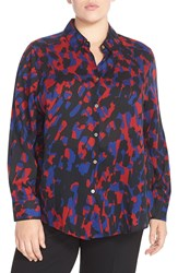 Foxcroft Abstract Animal Print Shirt Plus Size Red Multi