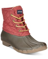Sperry Women's Saltwater Duck Booties Women's Shoes Red Quilted