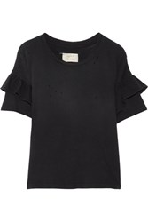 Current Elliott The Ruffle Roadie Distressed Cotton Jersey T Shirt Black