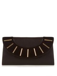 Diane Von Furstenberg Bar Stud Leather And Suede Envelope Clutch Black