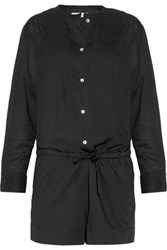 Etoile Isabel Marant Rodney Pintucked Cotton Broadcloth Playsuit Black