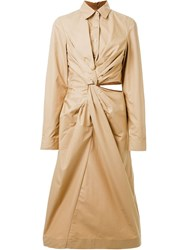 Jil Sander Wraped Shirt Dress Brown