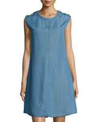 Neiman Marcus Sleeveless Chambray Shift Dress Medium Blue