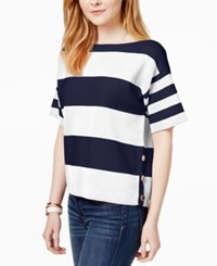 Tommy Hilfiger Cotton Short Sleeve Striped Sweater Only At Macy's Ivory Navy