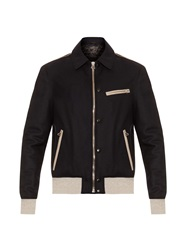 Lanvin Leather Trim Wool Bomber