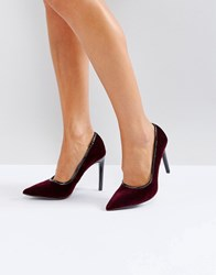 Ivyrevel Heeled Velvet Pointed Court Shoe With Pu Trim Burgundy Red