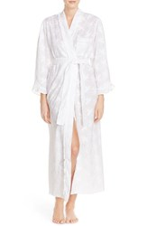 Women's Eileen West Embroidered Cotton Ballet Robe White Floral Embroidery