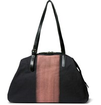 Dries Van Noten Leather Trimmed Two Tone Cotton Canvas Holdall Midnight Blue