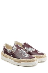 Valentino Leather Slip On Sneakers With Raffia Brown