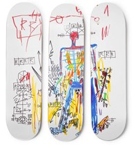 The Skateroom Jean Michel Basquiat Set Of Three Printed Wooden Skateboards Multi