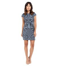 Adrianna Papell Lace And Sequin Cap Sleeve Dress Blue Women's Dress