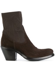 Rocco P. Western Heeled Boots Leather Suede Rubber Brown