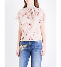 Red Valentino Pussybow Stretch Silk Chiffon Blouse Poudre