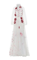 Luisa Beccaria Floral Embroidered Tulle Ball Gown White