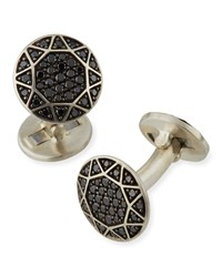 David Yurman Black Pave Diamond Round Cuff Links Black Silver