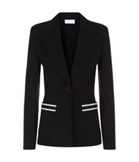 Escada Sport Stripe Pocket Button Blazer Black