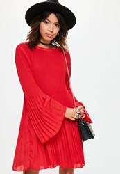 Missguided Red Pleated Swing Dress
