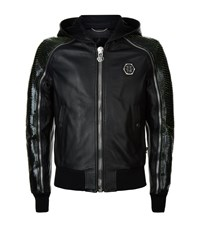 Philipp Plein Python Sleeve Leather Jacket Male Black
