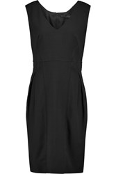Amanda Wakeley Faille Trimmed Stretch Crepe Dress Black