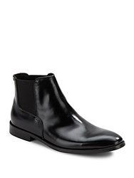 Kenneth Cole Season Ticket Leather Ankle Boots Black