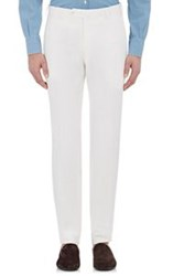 Isaia Men's Slub Weave Gregory Trousers White