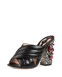 Gucci Webby Quilted Leather Snake Heel Mule Sandal Black Size 39.0B 9.0B