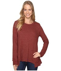 Dylan By True Grit Soft Heather Slub Long Sleeve Ruffle Back Tee Rust Women's T Shirt Red