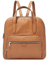 Fossil Riley Leather Backpack Camel