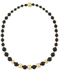 Signature Gold Onyx Beaded Necklace 6 8 And 10Mm In 14K Gold
