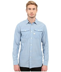 G Star Landoh Army Shirt Long Sleeve Shirt In Lightweight Torg Chambray Dark Bleached Men's Long Sleeve Button Up Blue