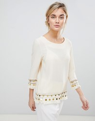 See U Soon Tunic Top With Coin Embroidery Cream