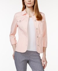 Charter Club Long Sleeve Denim Jacket Only At Macy's Pink Cloud
