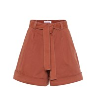 See By Chloe High Rise Cotton Twill Shorts Orange