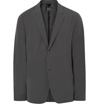 Theory Grey Syd Slim Fit Waterproof Matte Stretch Shell Blazer Dark Gray