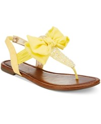 Material Girl Swan Flat Thong Sandals Only At Macy's Women's Shoes Citron