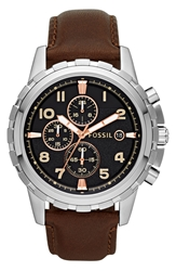 Fossil Notched Bezel Leather Strap Chronograph Watch 45Mm Brown Silver