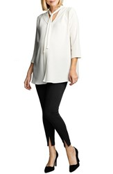 Women's Maternal America Tie Neck Maternity Top Cream