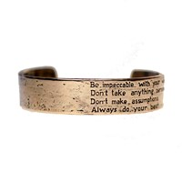 House Of Alaia The Four Agreements Reminder Cuff Antiqued Bronze With Clear Nano Coating