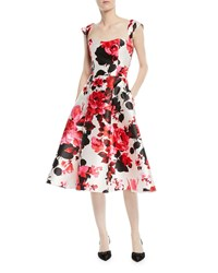 David Meister Fit And Flare Floral Print Tea Length Dress Pink Multi