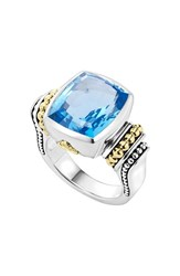 Women's Lagos 'Caviar Color' Medium Semiprecious Stone Ring Blue Topaz