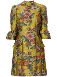 Andrew Gn Brocade Fitted Dress Yellow